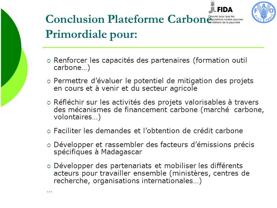 Conclusion Plateforme Carbone Primordiale pour: