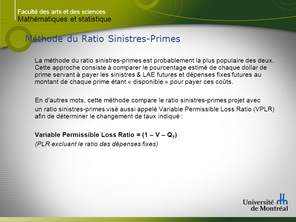 Méthode du Ratio Sinistres-Primes