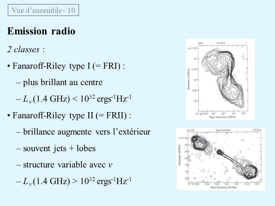 Emission radio 2 classes : • Fanaroff-Riley type I (= FRI) :