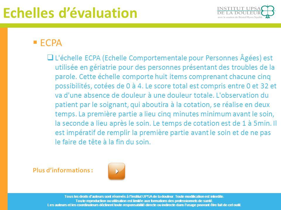 Echelles d'évaluation