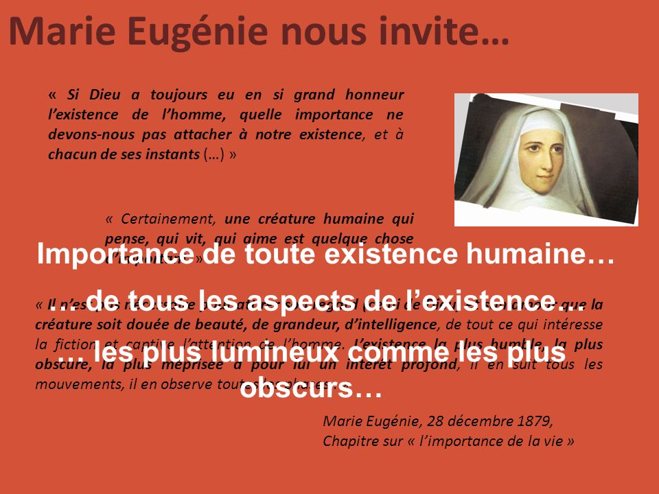 Marie Eugénie nous invite… … les plus lumineux comme les plus obscurs…