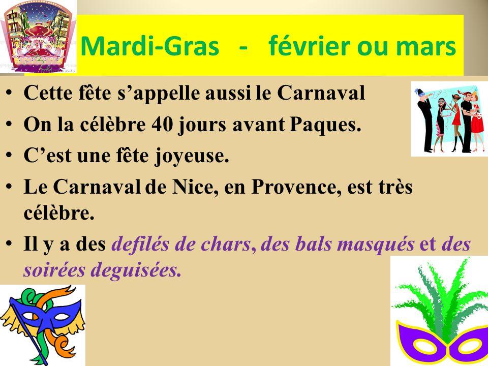 Mardi-Gras - février ou mars