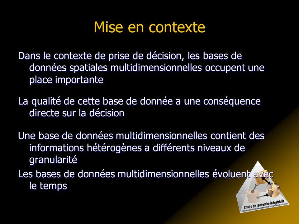 Mise en contexte Dans le contexte de prise de décision, les bases de données spatiales multidimensionnelles occupent une place importante.