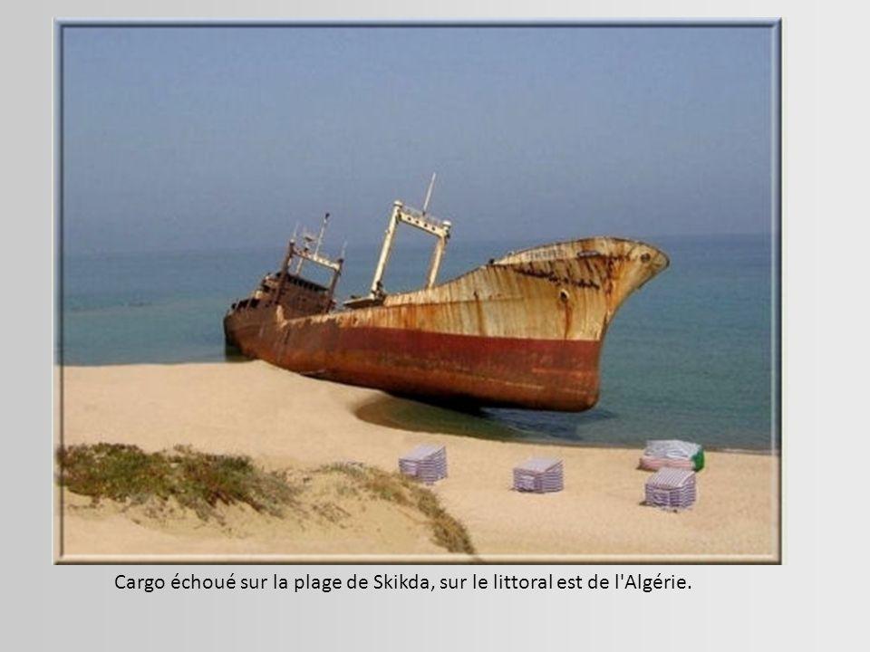 Cargo échoué sur la plage de Skikda, sur le littoral est de l Algérie.