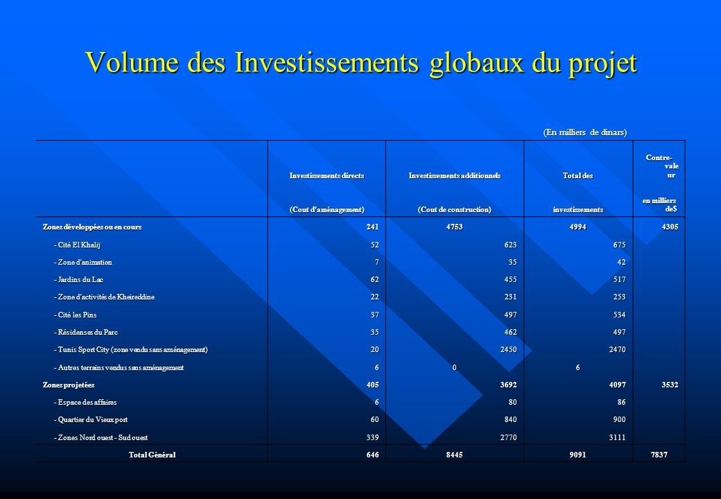 Volume des Investissements globaux du projet