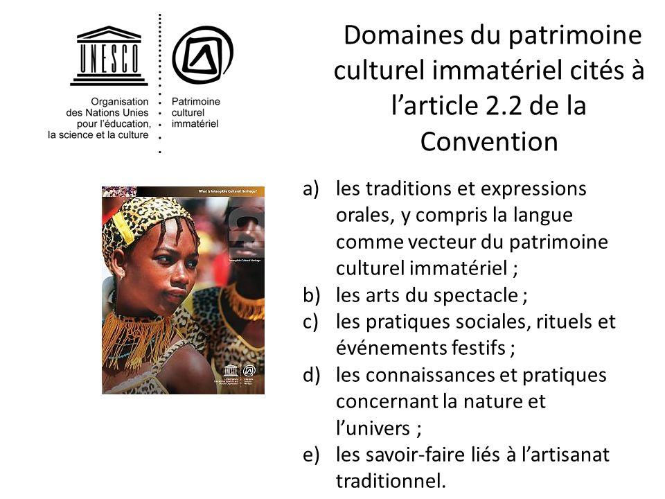 Domaines du patrimoine culturel immatériel cités à l'article 2