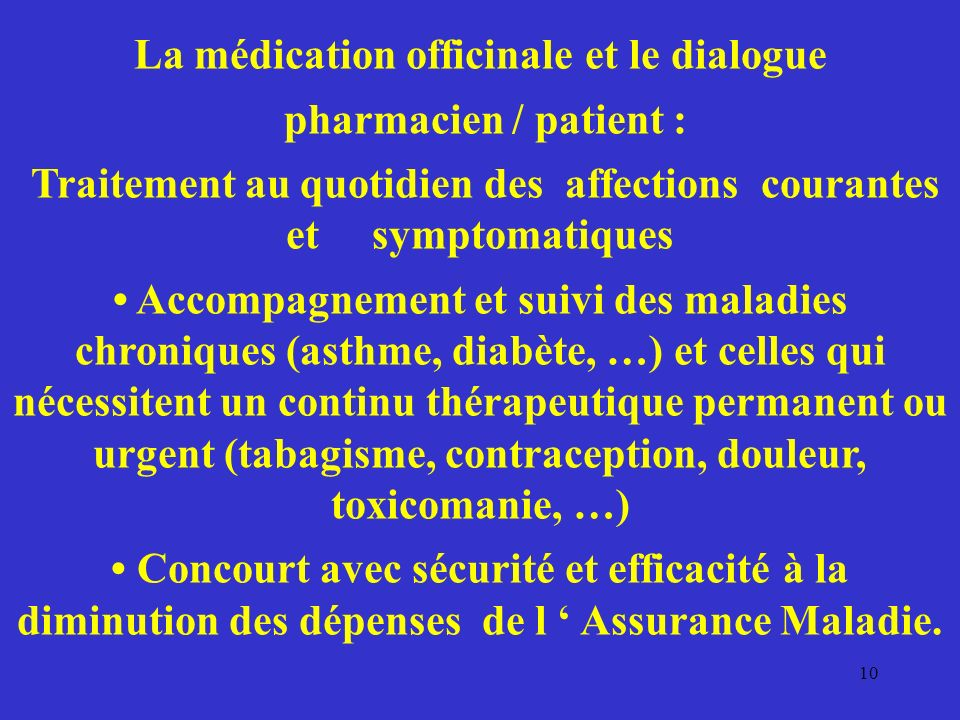 La médication officinale et le dialogue pharmacien / patient :