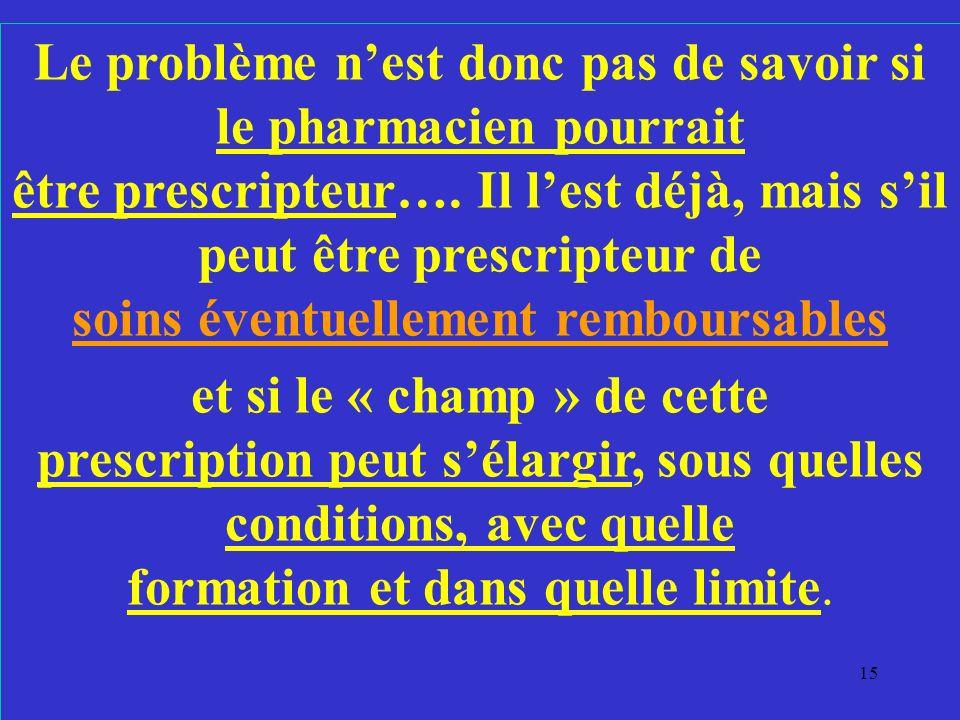 Le problème n'est donc pas de savoir si le pharmacien pourrait être prescripteur…. Il l'est déjà, mais s'il peut être prescripteur de soins éventuellement remboursables