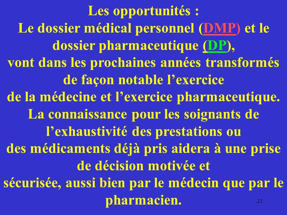 Les opportunités : Le dossier médical personnel (DMP) et le dossier pharmaceutique (DP), vont dans les prochaines années transformés de façon notable l'exercice de la médecine et l'exercice pharmaceutique.