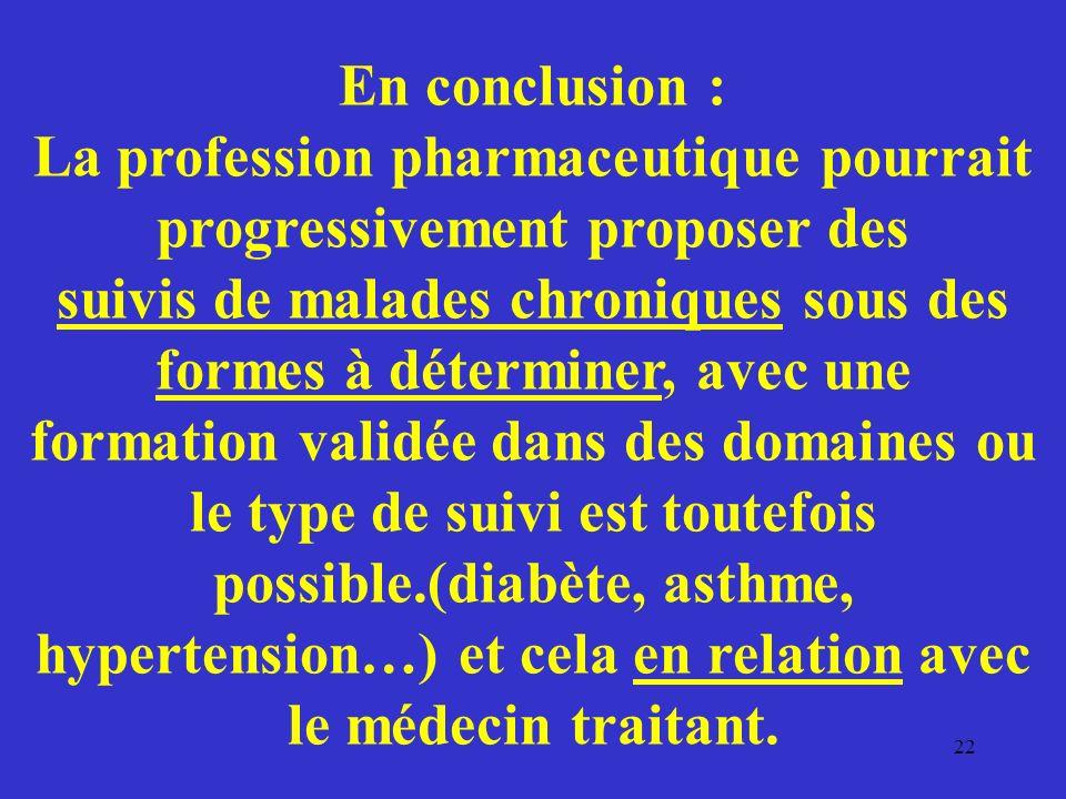 En conclusion : La profession pharmaceutique pourrait progressivement proposer des suivis de malades chroniques sous des formes à déterminer, avec une formation validée dans des domaines ou le type de suivi est toutefois possible.(diabète, asthme, hypertension…) et cela en relation avec le médecin traitant.