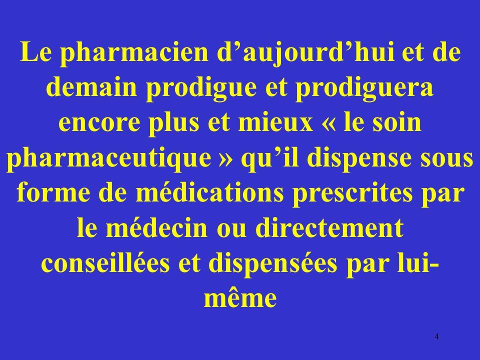Le pharmacien d'aujourd'hui et de demain prodigue et prodiguera encore plus et mieux « le soin pharmaceutique » qu'il dispense sous forme de médications prescrites par le médecin ou directement conseillées et dispensées par lui- même
