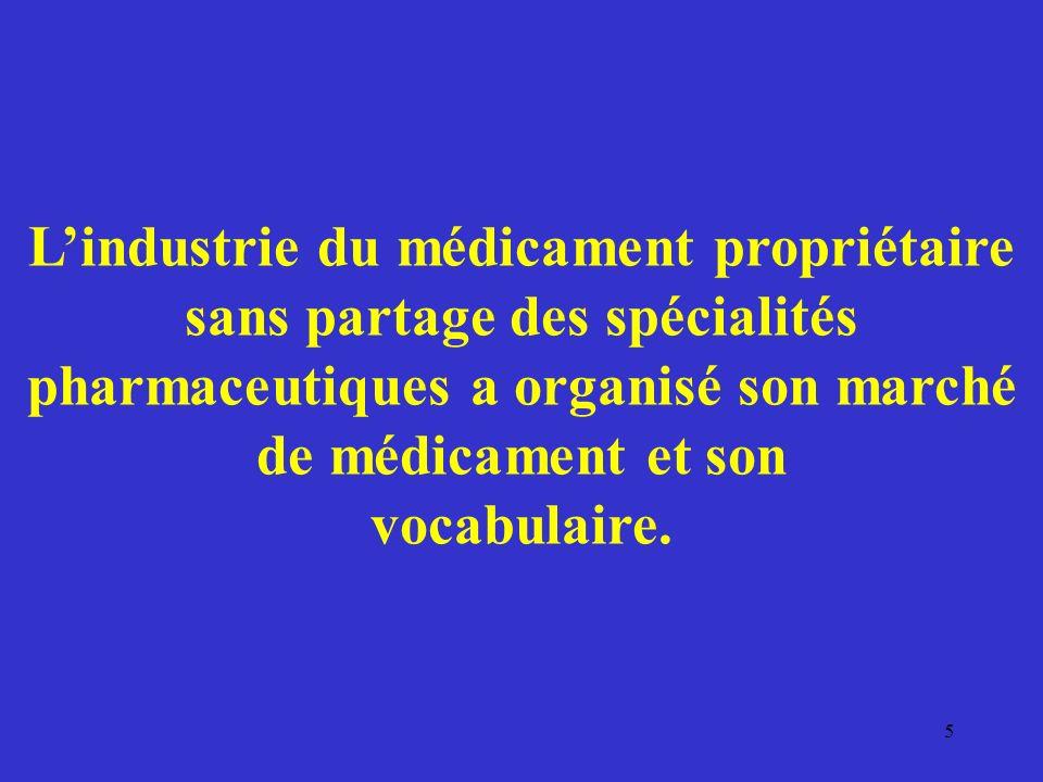 L'industrie du médicament propriétaire sans partage des spécialités pharmaceutiques a organisé son marché de médicament et son vocabulaire.