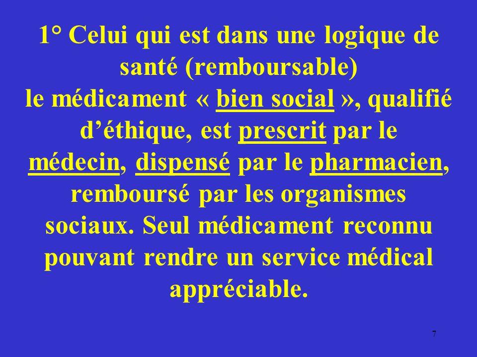 1° Celui qui est dans une logique de santé (remboursable) le médicament « bien social », qualifié d'éthique, est prescrit par le médecin, dispensé par le pharmacien, remboursé par les organismes sociaux.