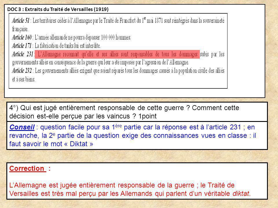 DOC 3 : Extraits du Traité de Versailles (1919)