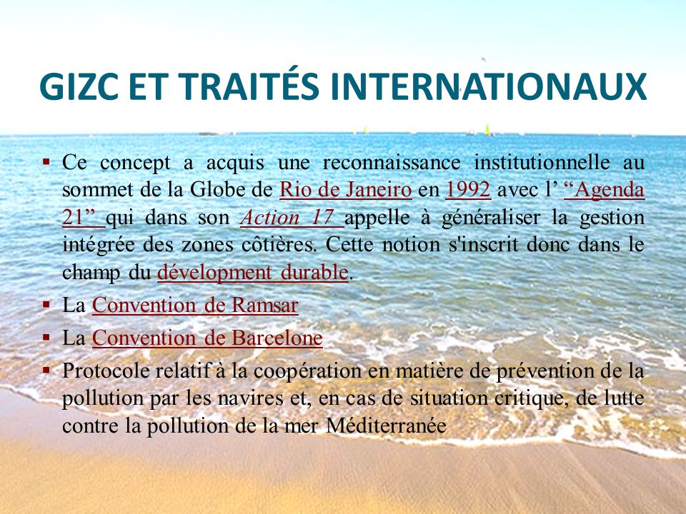 GIZC ET TRAITÉS INTERNATIONAUX