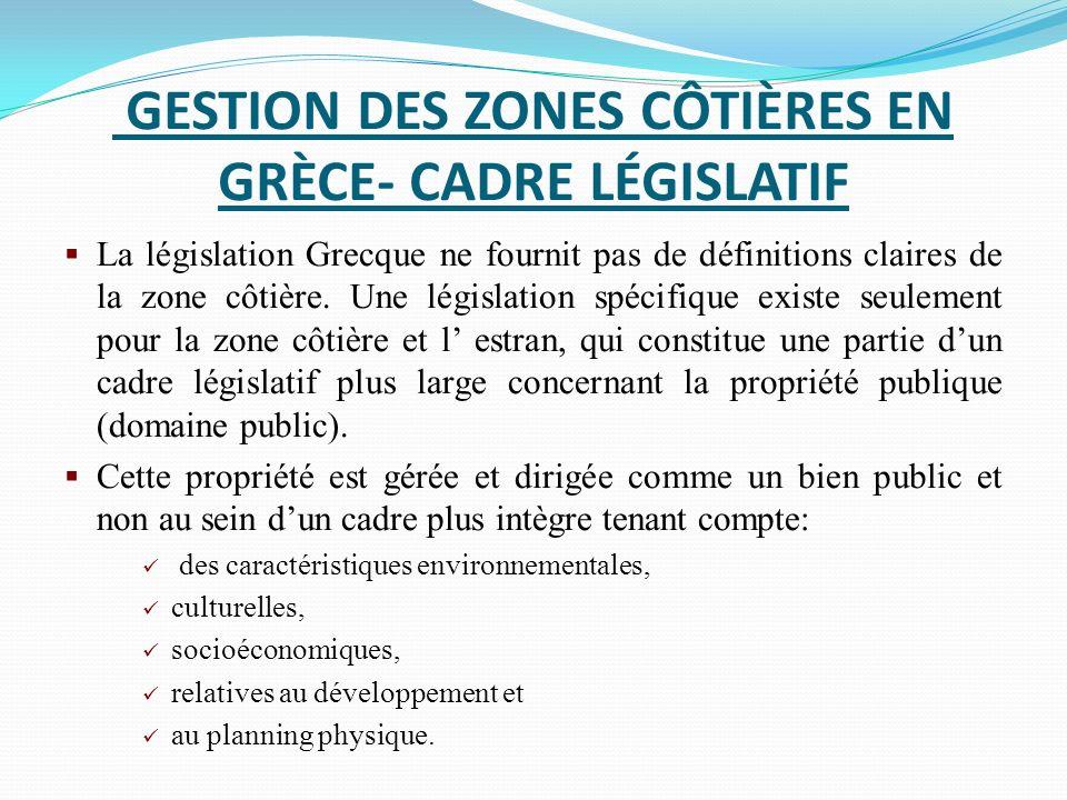 GESTION DES ZONES CÔTIÈRES EN GRÈCE- CADRE LÉGISLATIF