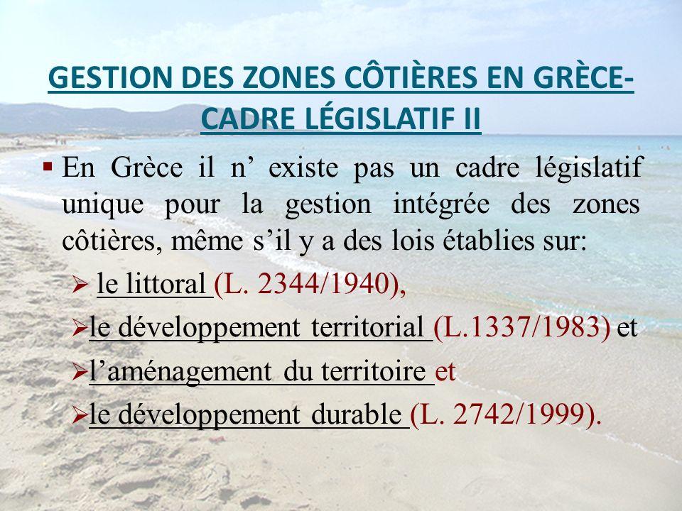 GESTION DES ZONES CÔTIÈRES EN GRÈCE- CADRE LÉGISLATIF II