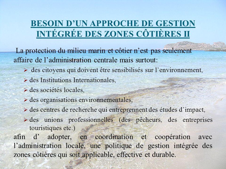 BESOIN D'UN APPROCHE DE GESTION INTÉGRÉE DES ZONES CÔTIÈRES II