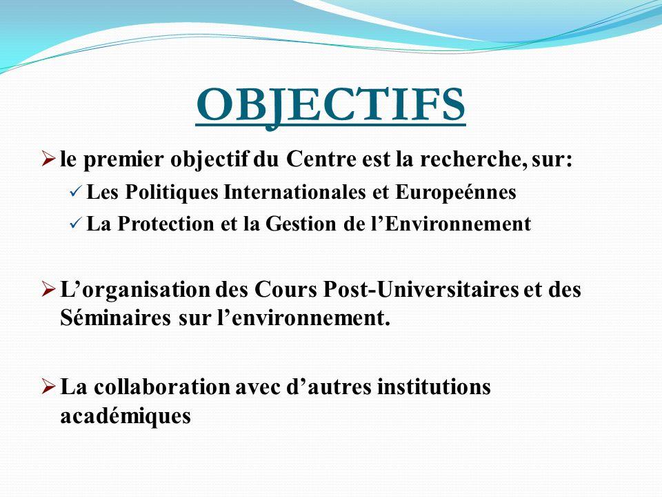 OBJECTIFS le premier objectif du Centre est la recherche, sur: