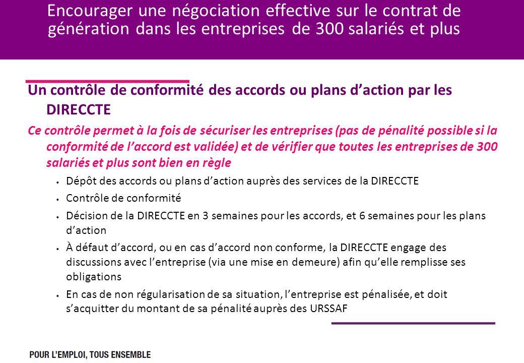 Encourager une négociation effective sur le contrat de génération dans les entreprises de 300 salariés et plus