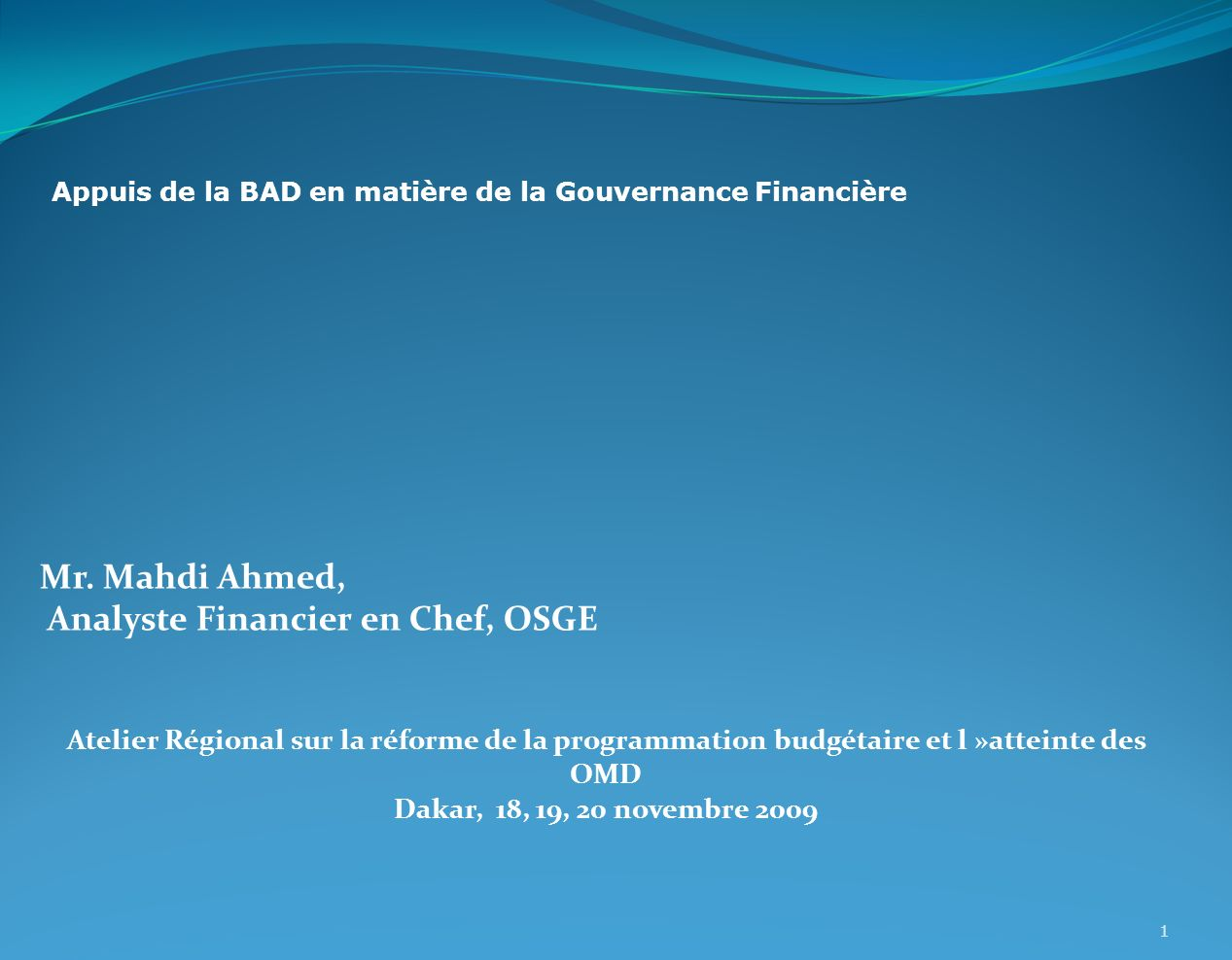 Analyste Financier en Chef, OSGE