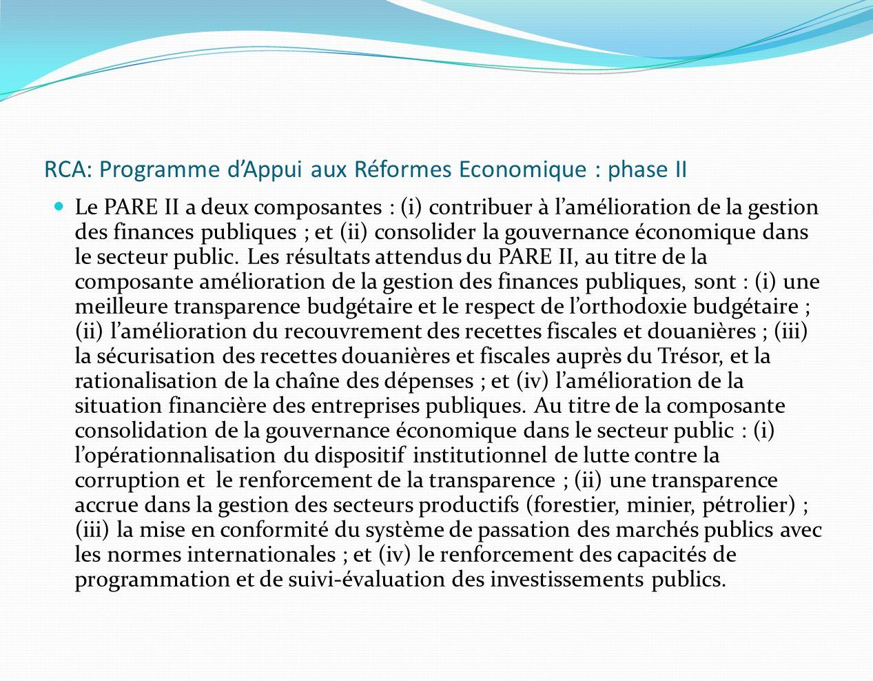 RCA: Programme d'Appui aux Réformes Economique : phase II