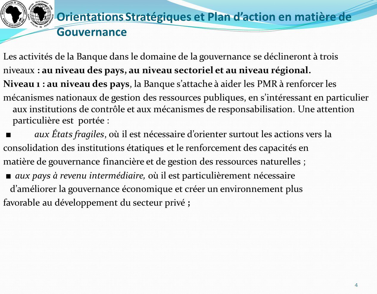 Orientations Stratégiques et Plan d'action en matière de Gouvernance