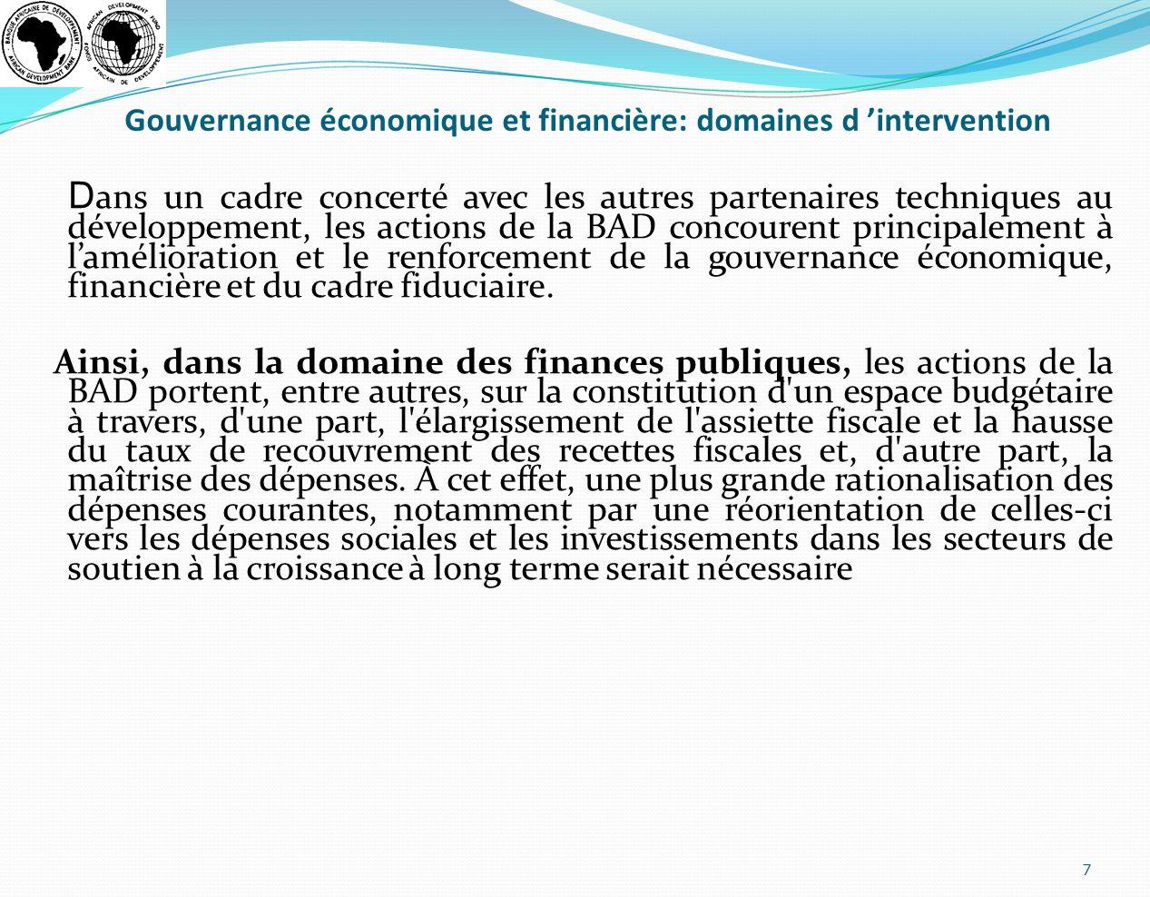Gouvernance économique et financière: domaines d 'intervention