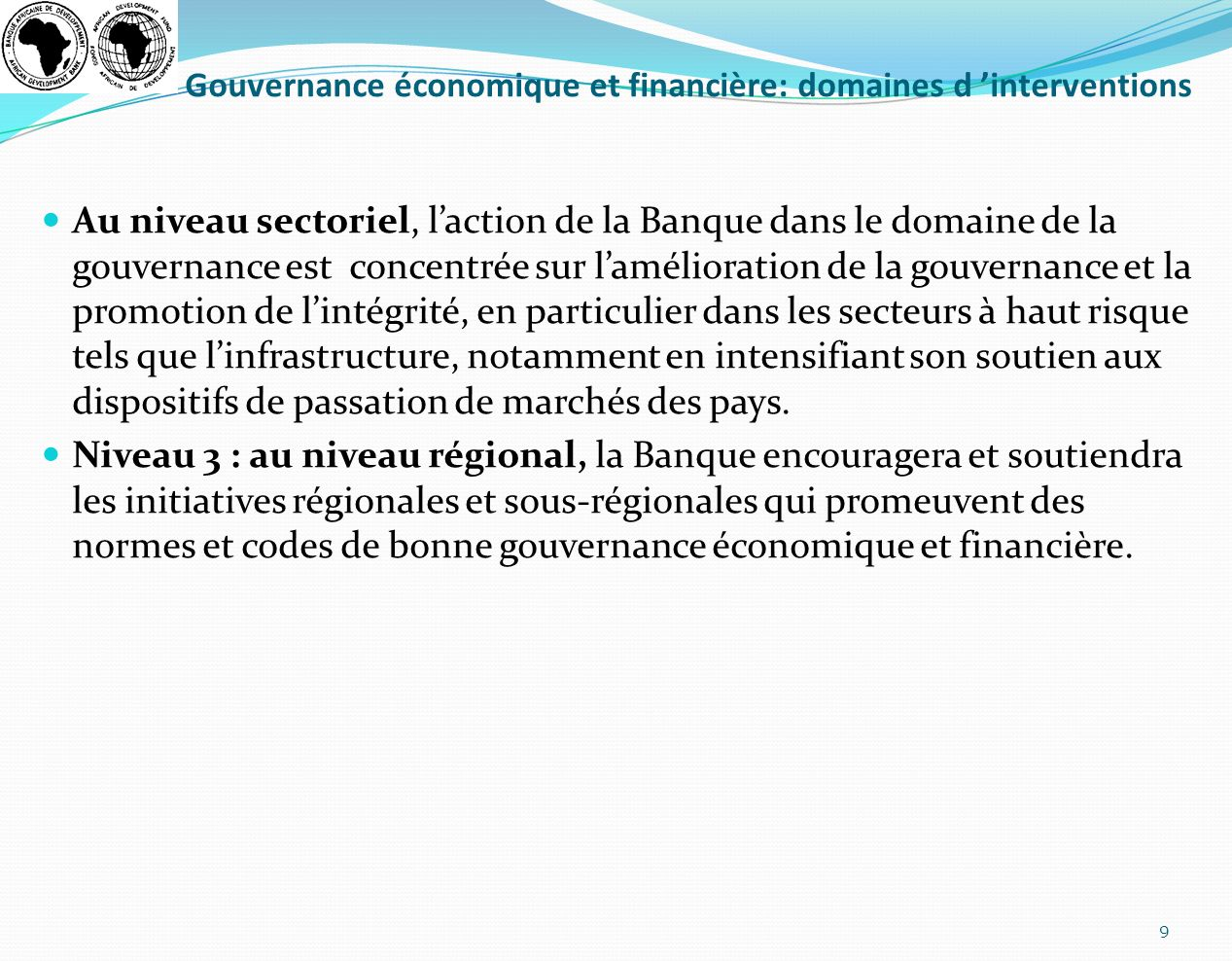 Gouvernance économique et financière: domaines d 'interventions