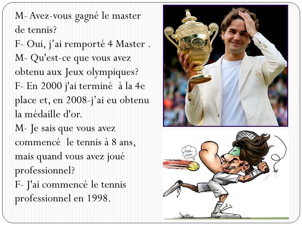 M- Avez-vous gagné le master de tennis