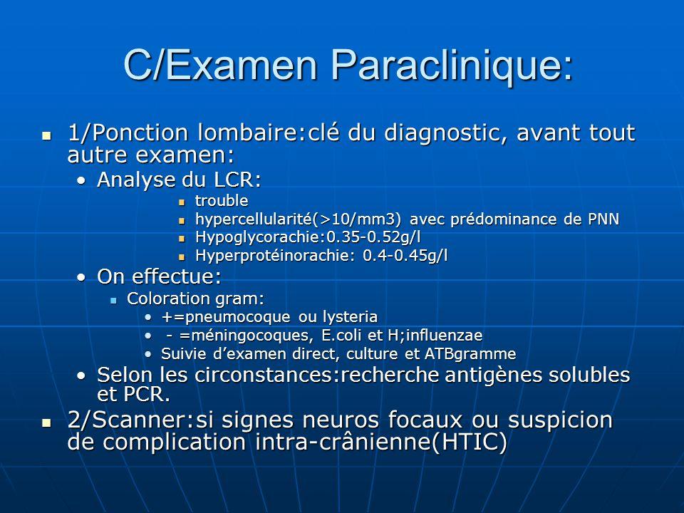 C/Examen Paraclinique: