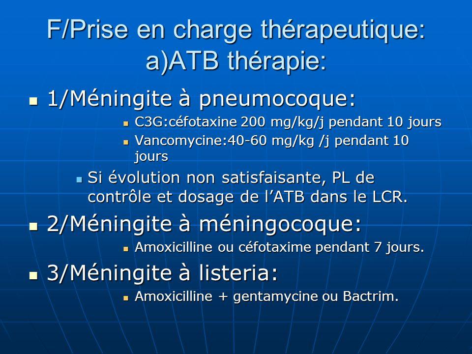 F/Prise en charge thérapeutique: a)ATB thérapie: