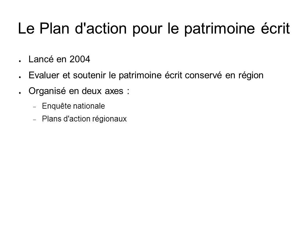 Le Plan d action pour le patrimoine écrit