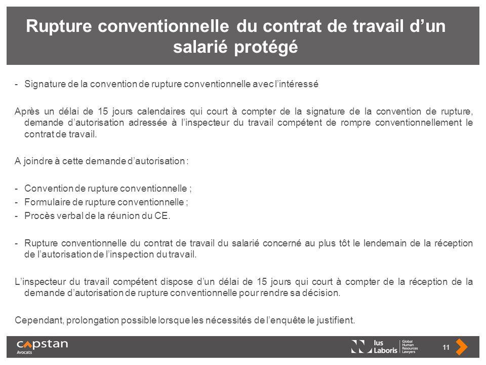 Rupture conventionnelle du contrat de travail d'un salarié protégé
