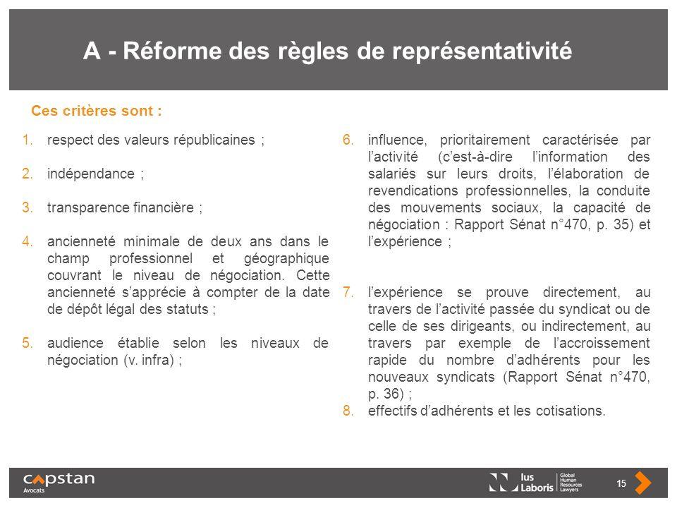 A - Réforme des règles de représentativité