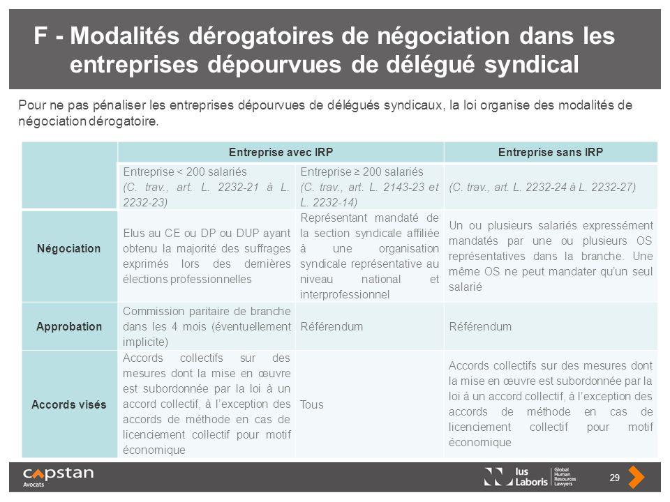 F - Modalités dérogatoires de négociation dans les entreprises dépourvues de délégué syndical
