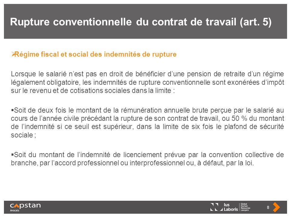 Rupture conventionnelle du contrat de travail (art. 5)
