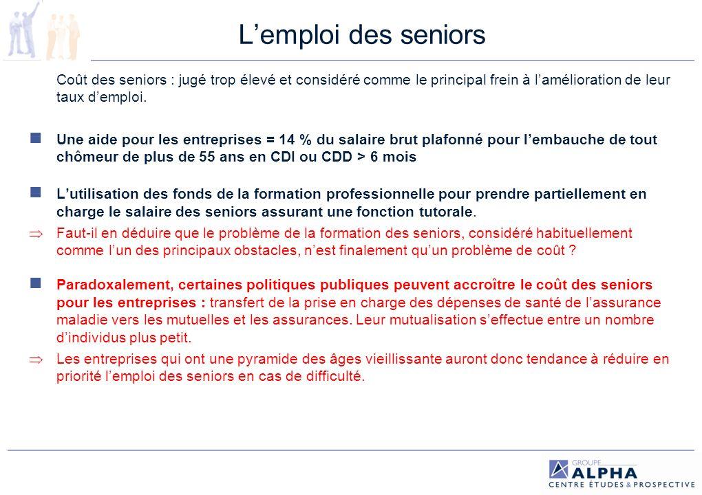 L'emploi des seniors Coût des seniors : jugé trop élevé et considéré comme le principal frein à l'amélioration de leur taux d'emploi.