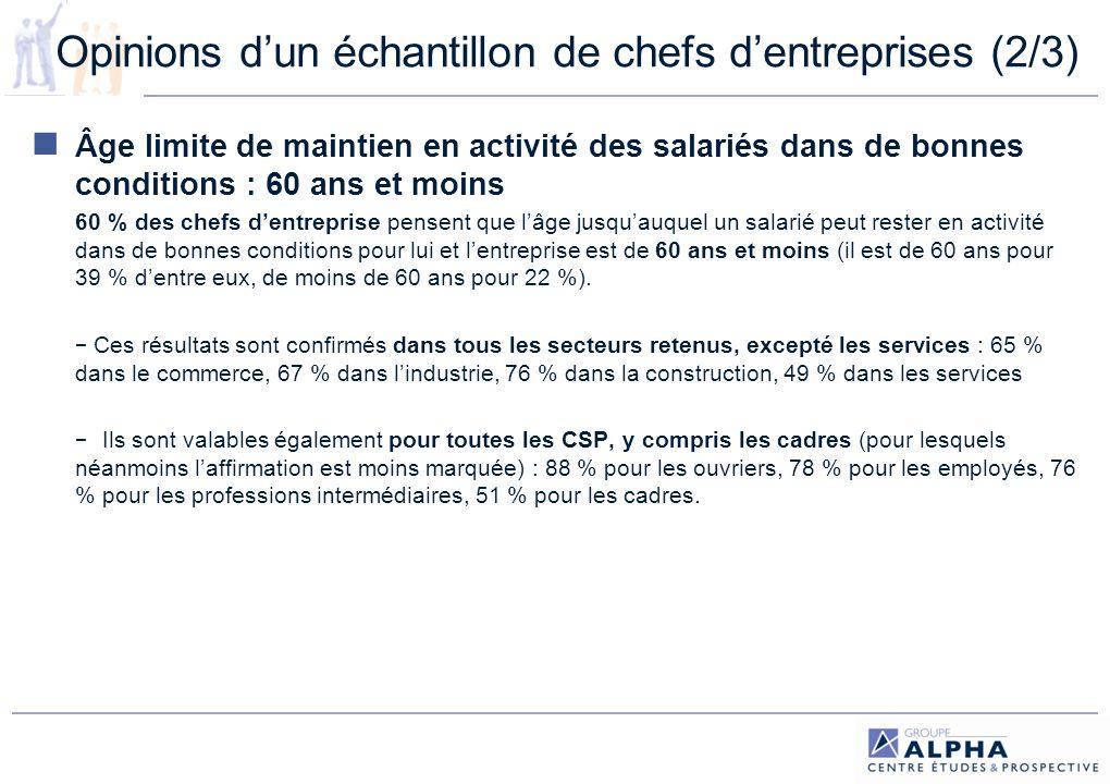Opinions d'un échantillon de chefs d'entreprises (2/3)