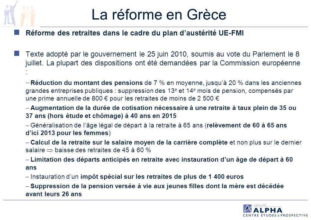 La réforme en GrèceRéforme des retraites dans le cadre du plan d'austérité UE-FMI.