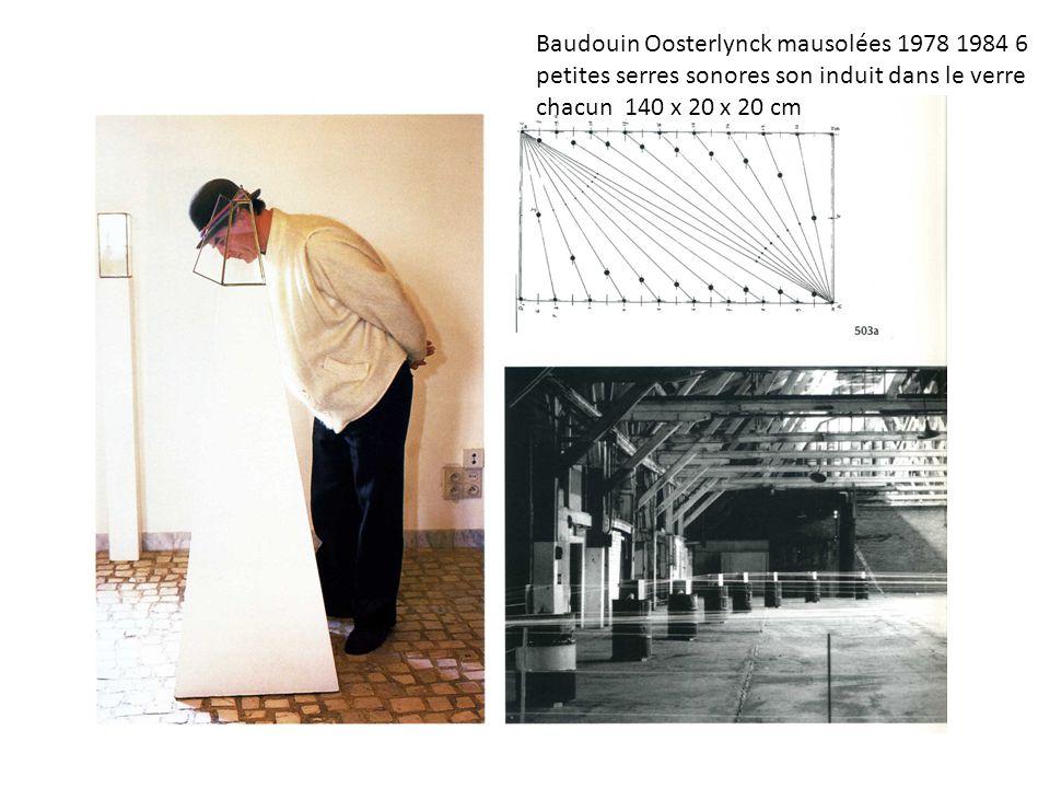 Baudouin Oosterlynck mausolées 1978 1984 6 petites serres sonores son induit dans le verre chacun 140 x 20 x 20 cm