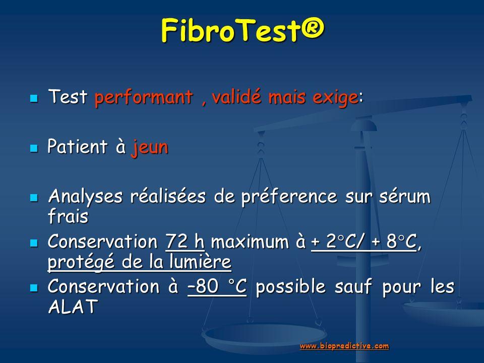 FibroTest® Test performant , validé mais exige: Patient à jeun
