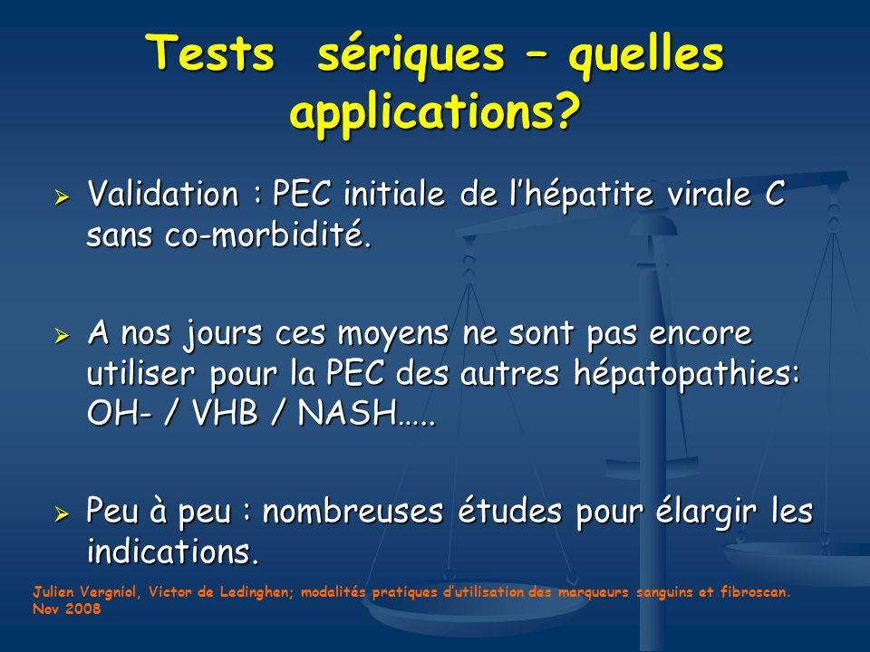 Tests sériques – quelles applications