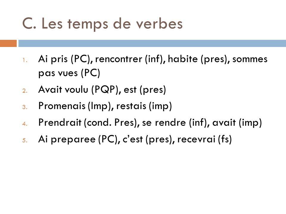 C. Les temps de verbesAi pris (PC), rencontrer (inf), habite (pres), sommes pas vues (PC) Avait voulu (PQP), est (pres)
