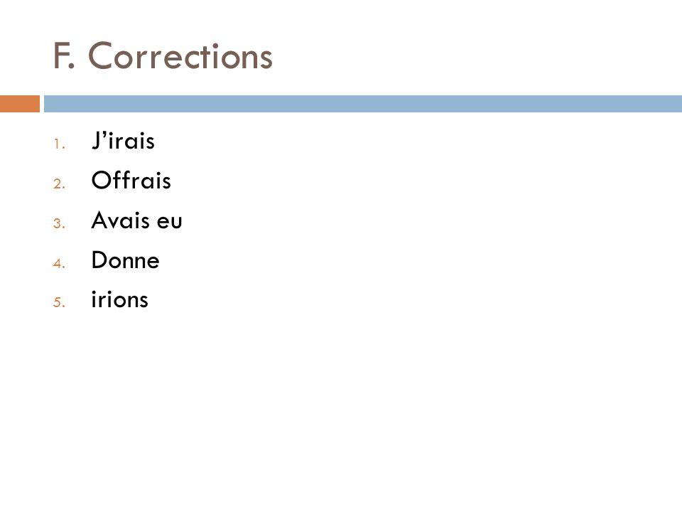 F. Corrections J'irais Offrais Avais eu Donne irions