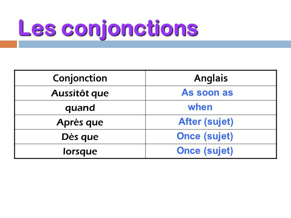 Les conjonctions Conjonction Anglais Aussitôt que quand Après que