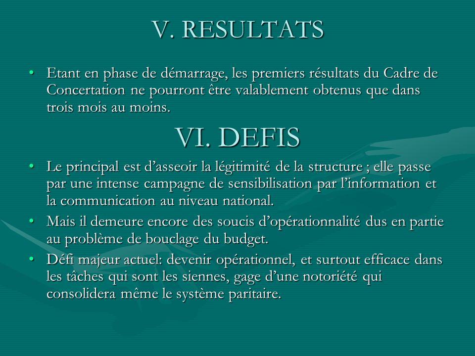 V. RESULTATS