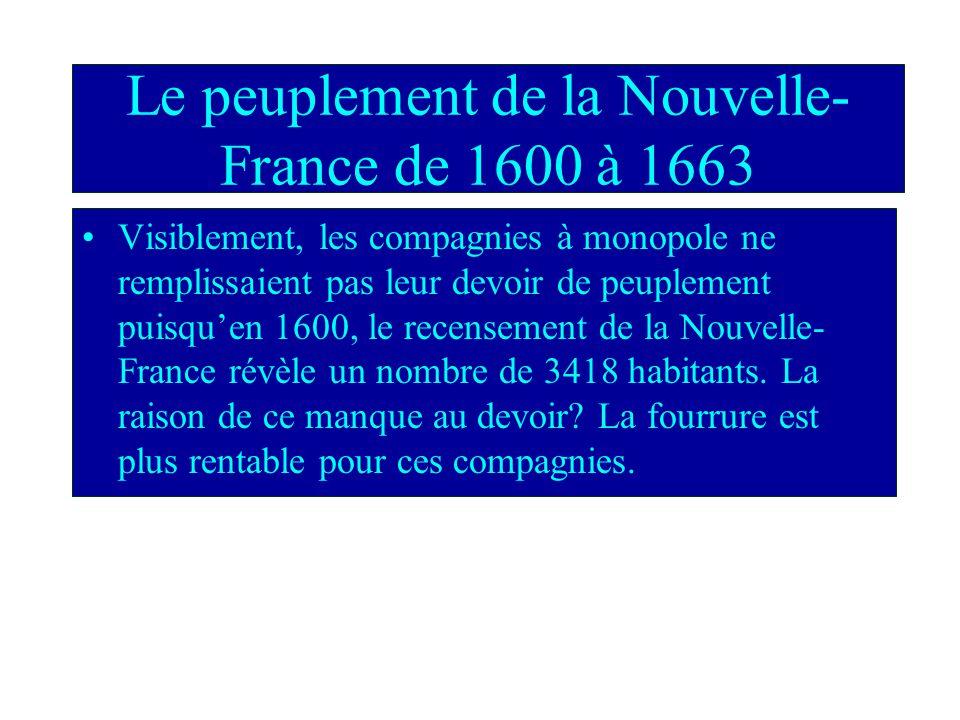 Le peuplement de la Nouvelle-France de 1600 à 1663