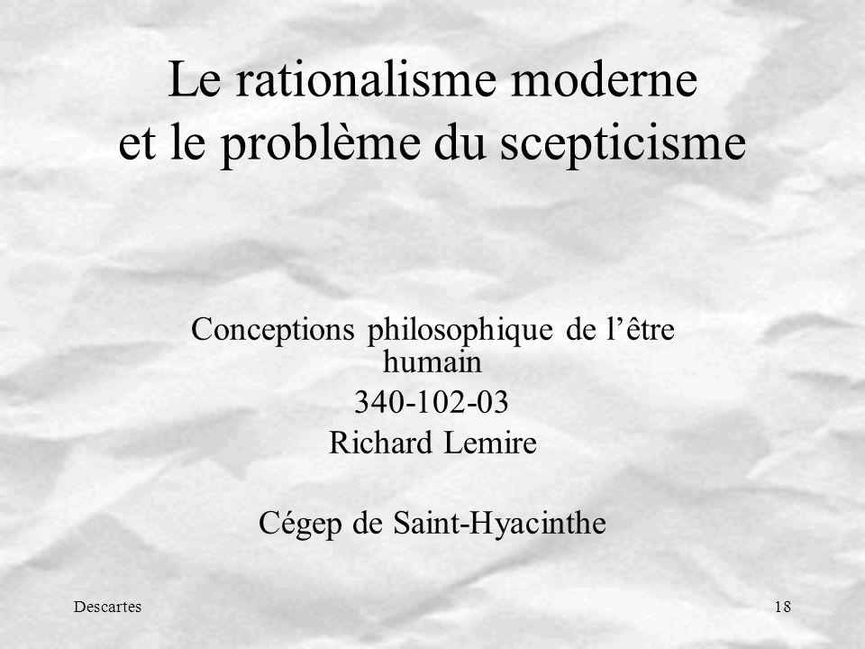 Le rationalisme moderne et le problème du scepticisme