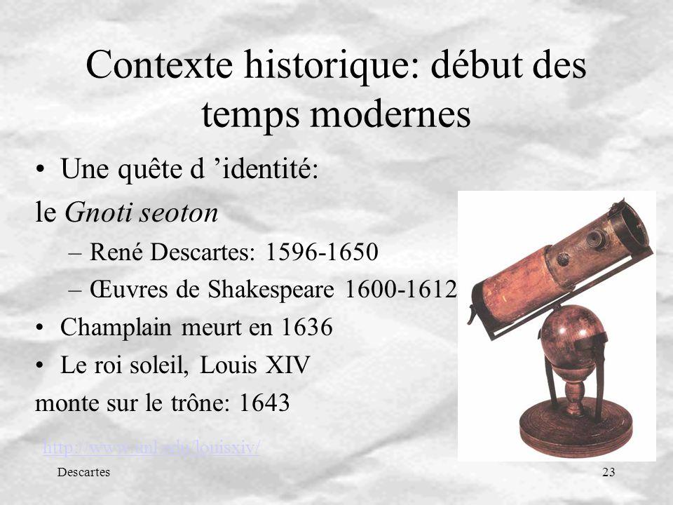 Contexte historique: début des temps modernes